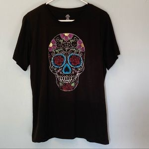 Halloween shirt xl black women xl skull colorful